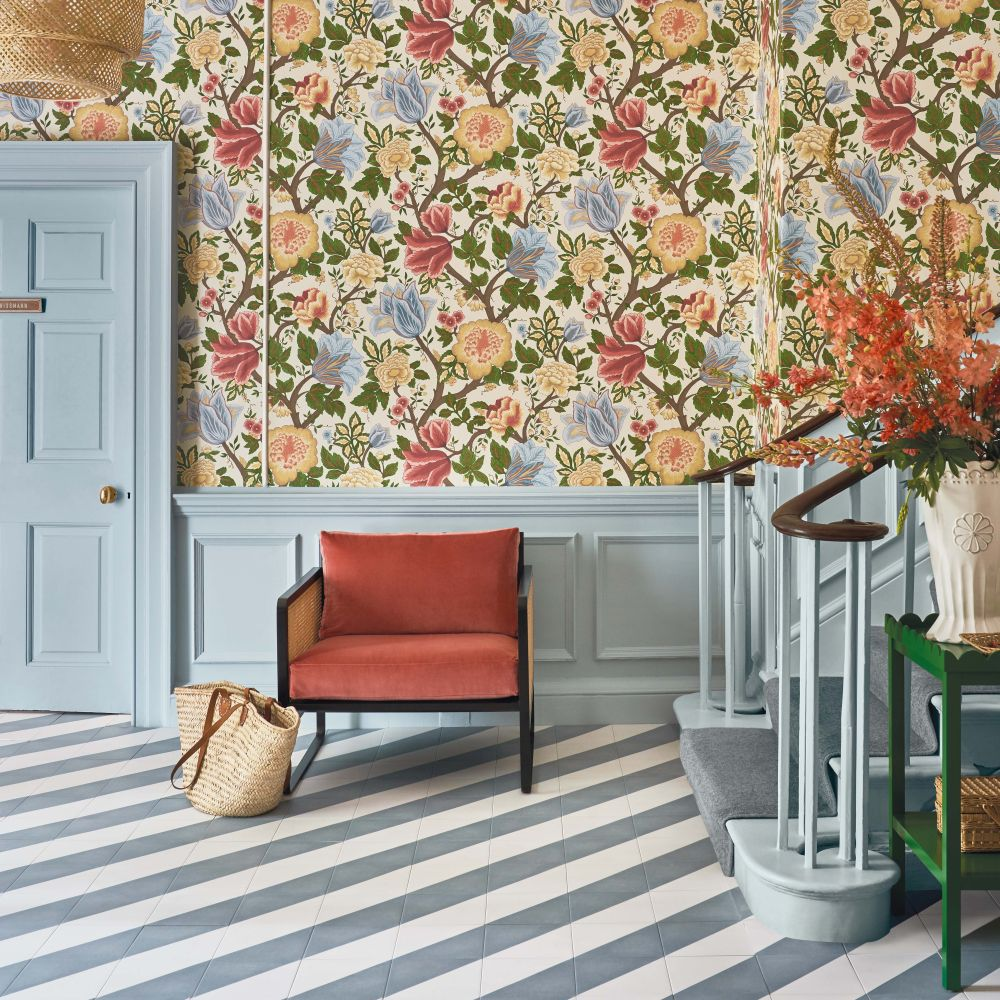 Midsummer Bloom Wallpaper - Chartreuse / Rouge / Leaf Green / Parchment - by Cole & Son