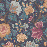 Cole & Son Midsummer Bloom Burnt Orange / Rose / Petrol / Ink Wallpaper - Product code: 116/4014