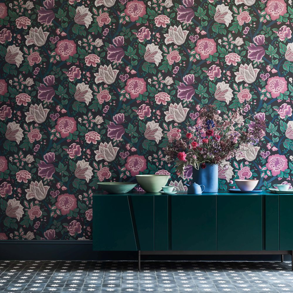 Cole & Son Midsummer Bloom Mulberry / Purple / Teal / Ink Wallpaper - Product code: 116/4015