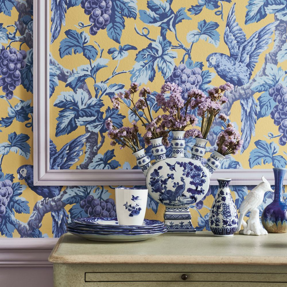 Woodvale Orchard Wallpaper - Hyacinth / Lilac / China Blue / Ochre - by Cole & Son