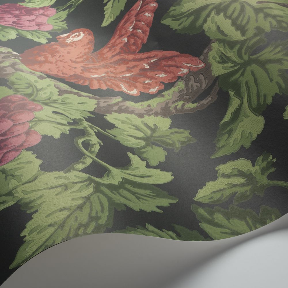 Woodvale Orchard Wallpaper - Ruby / Rose / Olive Green / Charcoal - by Cole & Son
