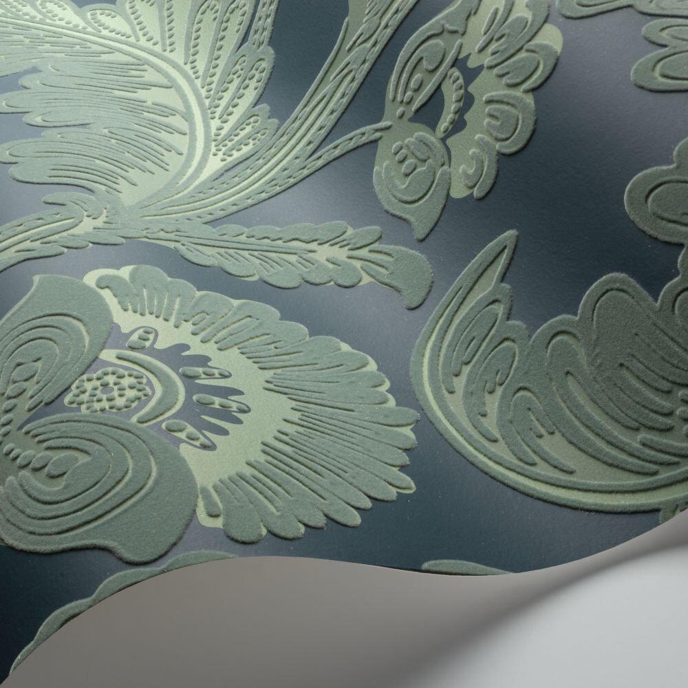 Fanfare Flock Wallpaper - Duck Egg / Dark Petrol - by Cole & Son