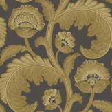 Cole & Son Fanfare Flock Ochre / Charcoal Wallpaper - Product code: 116/7027
