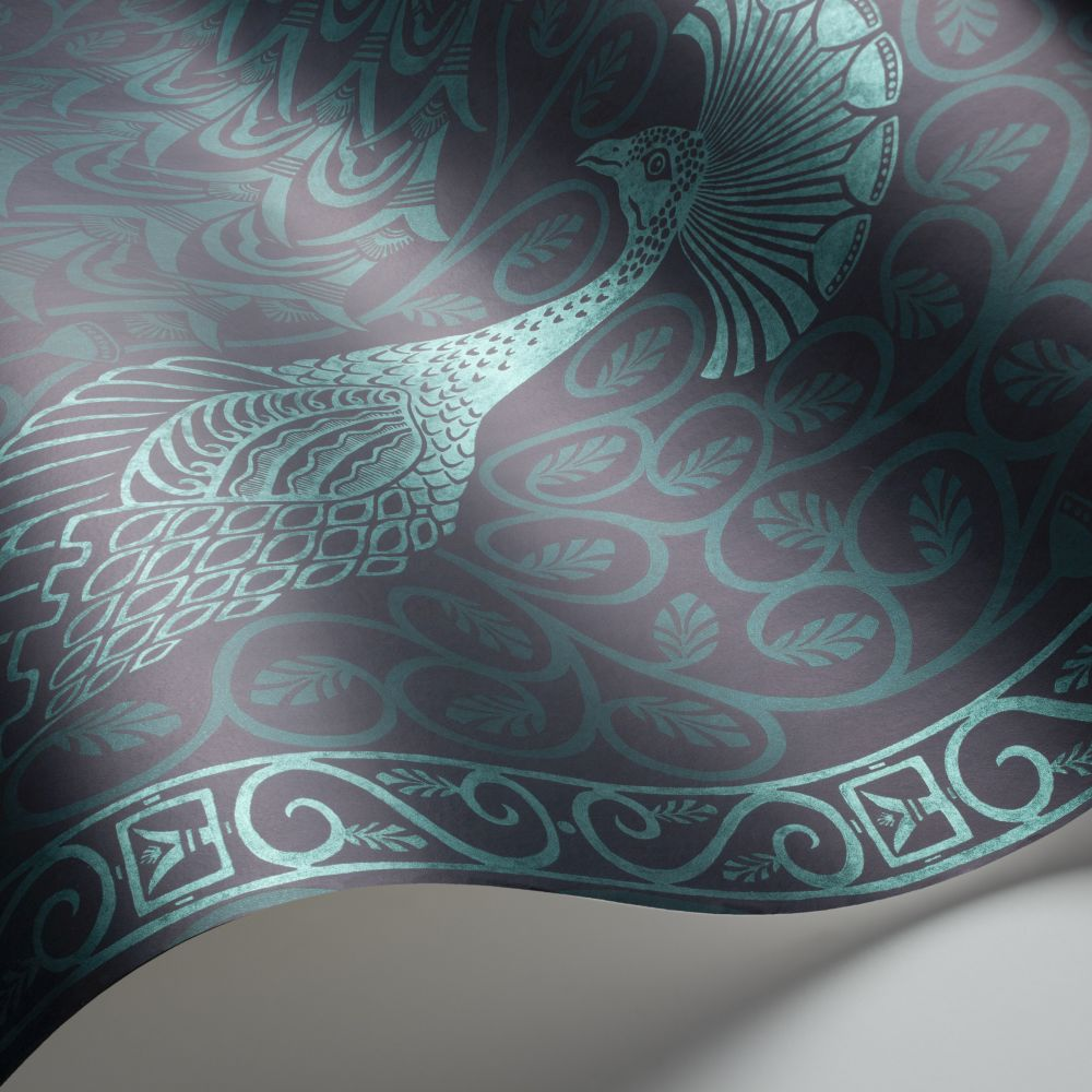 Cole & Son Pavo Parade Metallic Petrol / Ink Wallpaper - Product code: 116/8028