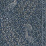 Cole & Son Pavo Parade Metallic Silver / Denim Wallpaper - Product code: 116/8029