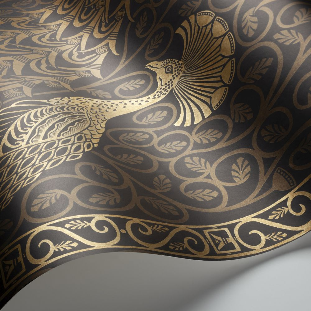 Pavo Parade Wallpaper - Metallic Gold / Soot - by Cole & Son