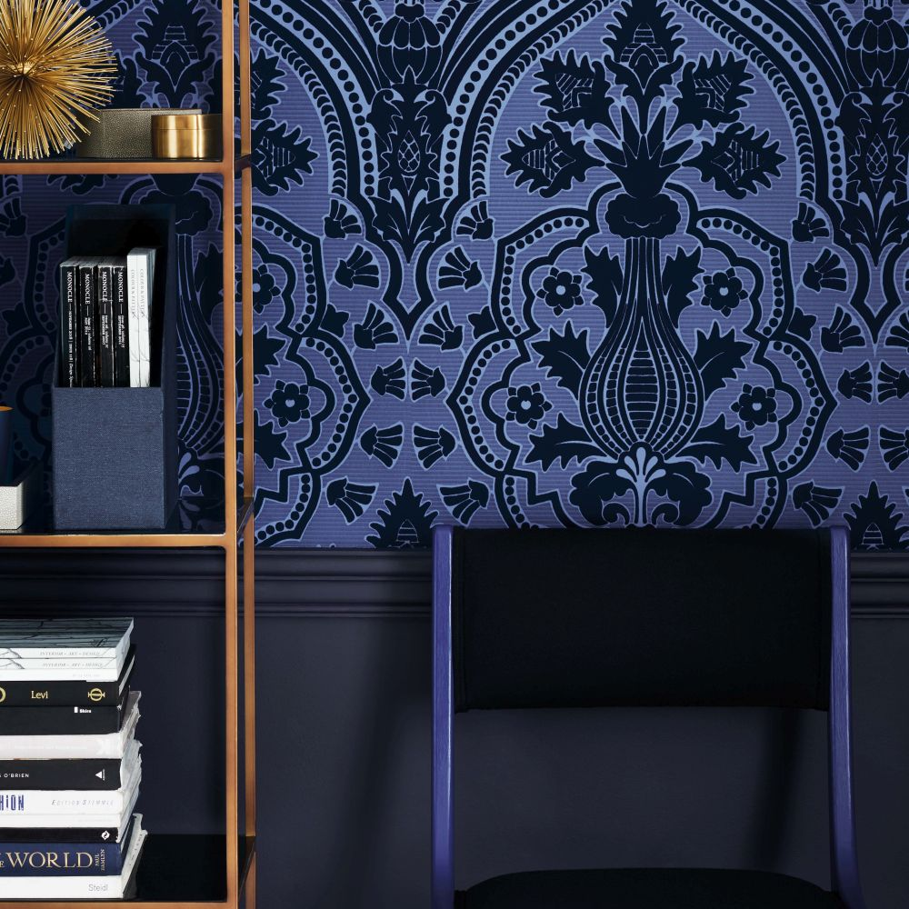 Pugin Palace Flock Wallpaper - Dark Hyacinth - by Cole & Son
