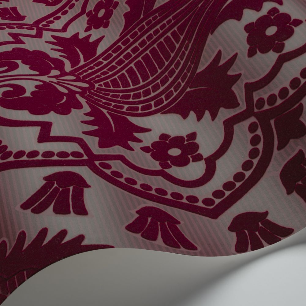 Pugin Palace Flock Wallpaper - Claret - by Cole & Son