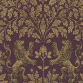 Cole & Son Boscobel Oak Metallic Autumnal Gold / Claret Wallpaper - Product code: 116/10038