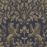 Cole & Son Boscobel Oak Metallic Gilver / Ink Wallpaper - Product code: 116/10039