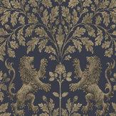 Cole & Son Boscobel Oak Metallic Gilver / Ink Wallpaper - Product code: 116/10039