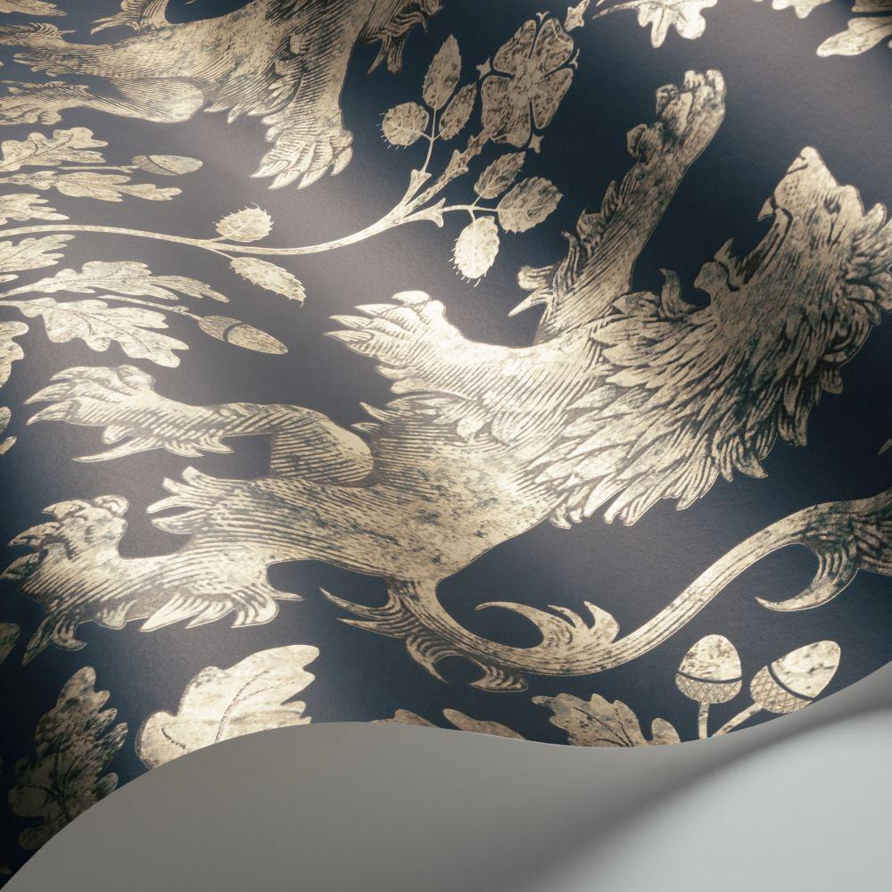 Boscobel Oak Wallpaper - Metallic Gilver / Ink - by Cole & Son