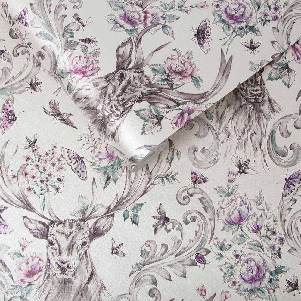 Graham & Brown Stag Floral Silver Wallpaper - Product code: 104551