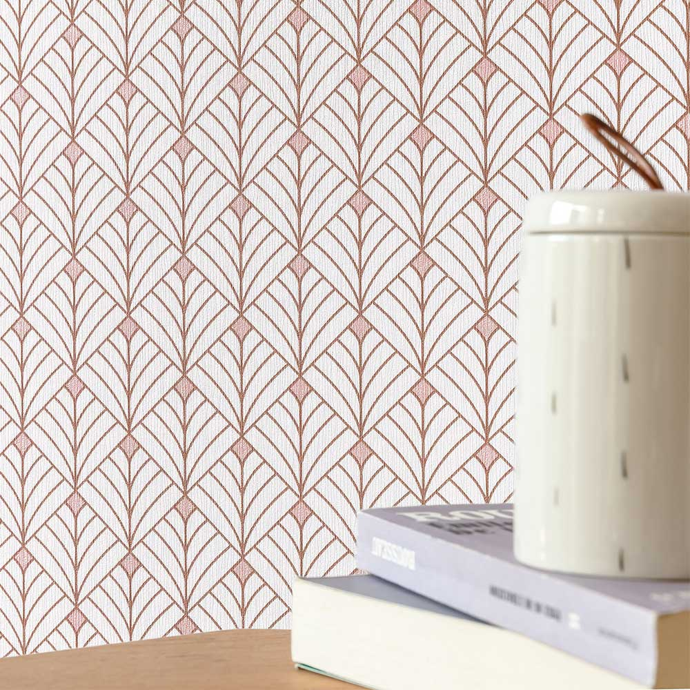 Mistinguett Wallpaper - Rose and Gold - by Caselio