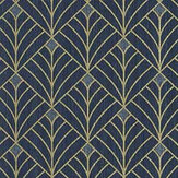 Caselio Mistinguett Dark Blue and Gold Wallpaper - Product code: 100436120