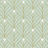 Caselio Mistinguett Mint Green and Gold Wallpaper - Product code: 100437070