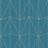 Caselio Chrysler Teal Blue and Gold Wallpaper - Product code: 100446060