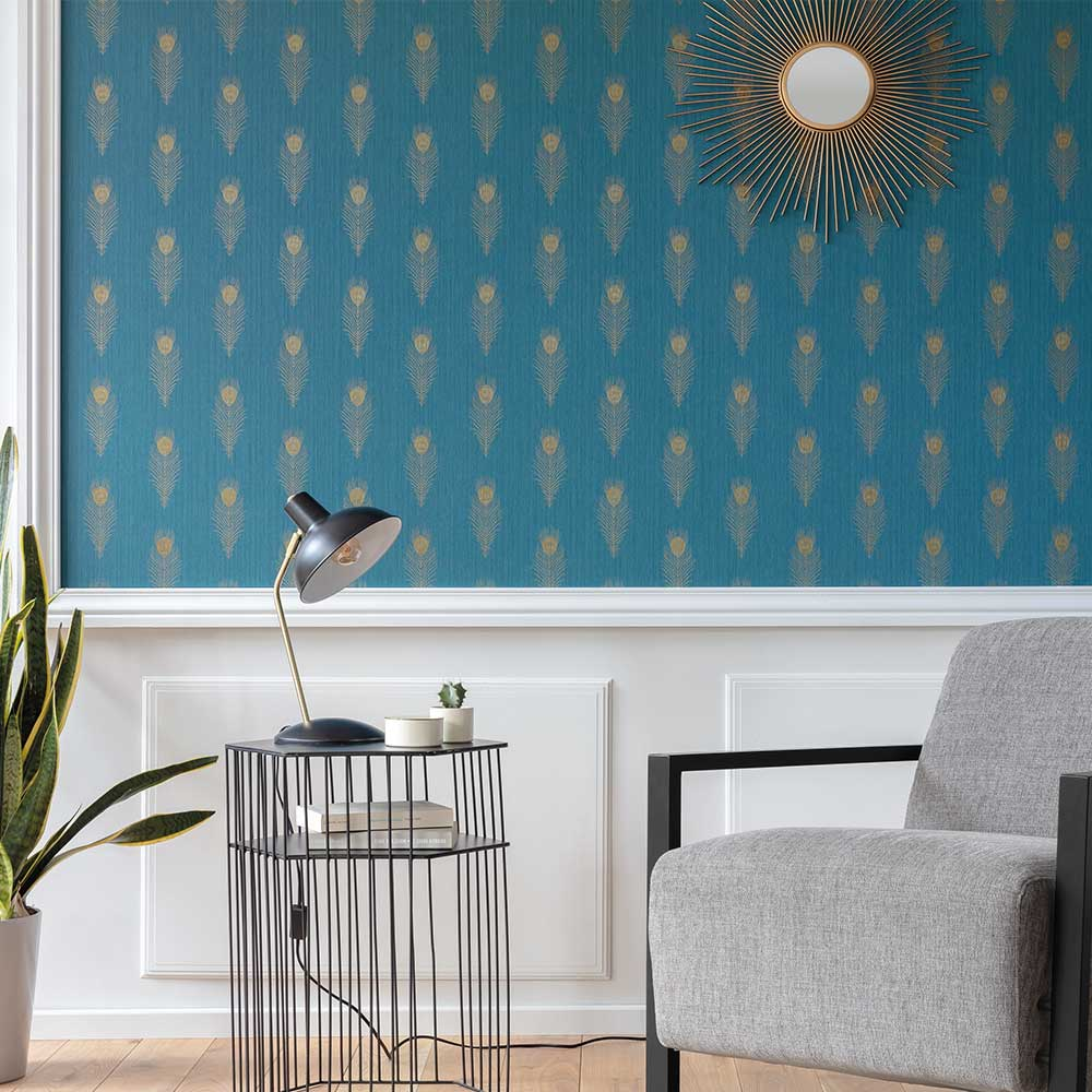 Caselio Peacock Teal Blue Wallpaper - Product code: 100466060