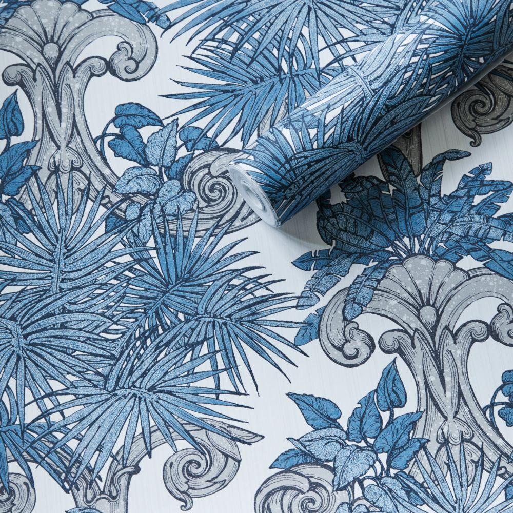 Latin Quarter Wallpaper - Blue - by Laurence Llewelyn-Bowen