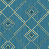 Caselio Gatsby Teal Blue and Gold Wallpaper - Product code: 100476050
