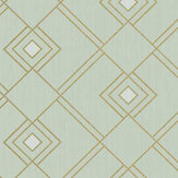 Caselio Gatsby Mint Green and Gold Wallpaper - Product code: 100477086