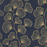 Caselio Ginko Dark Blue and Gold Wallpaper - Product code: 100486062