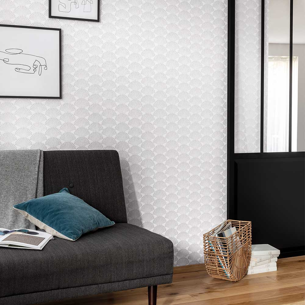 Caselio Pearl White and Silver Wallpaper - Product code: 100490198
