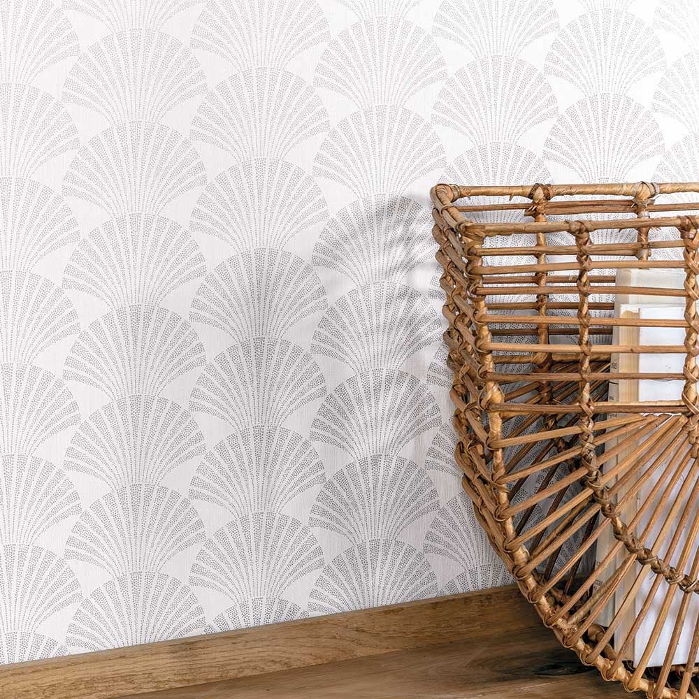 Pearl Wallpaper - White and Silver - by Caselio