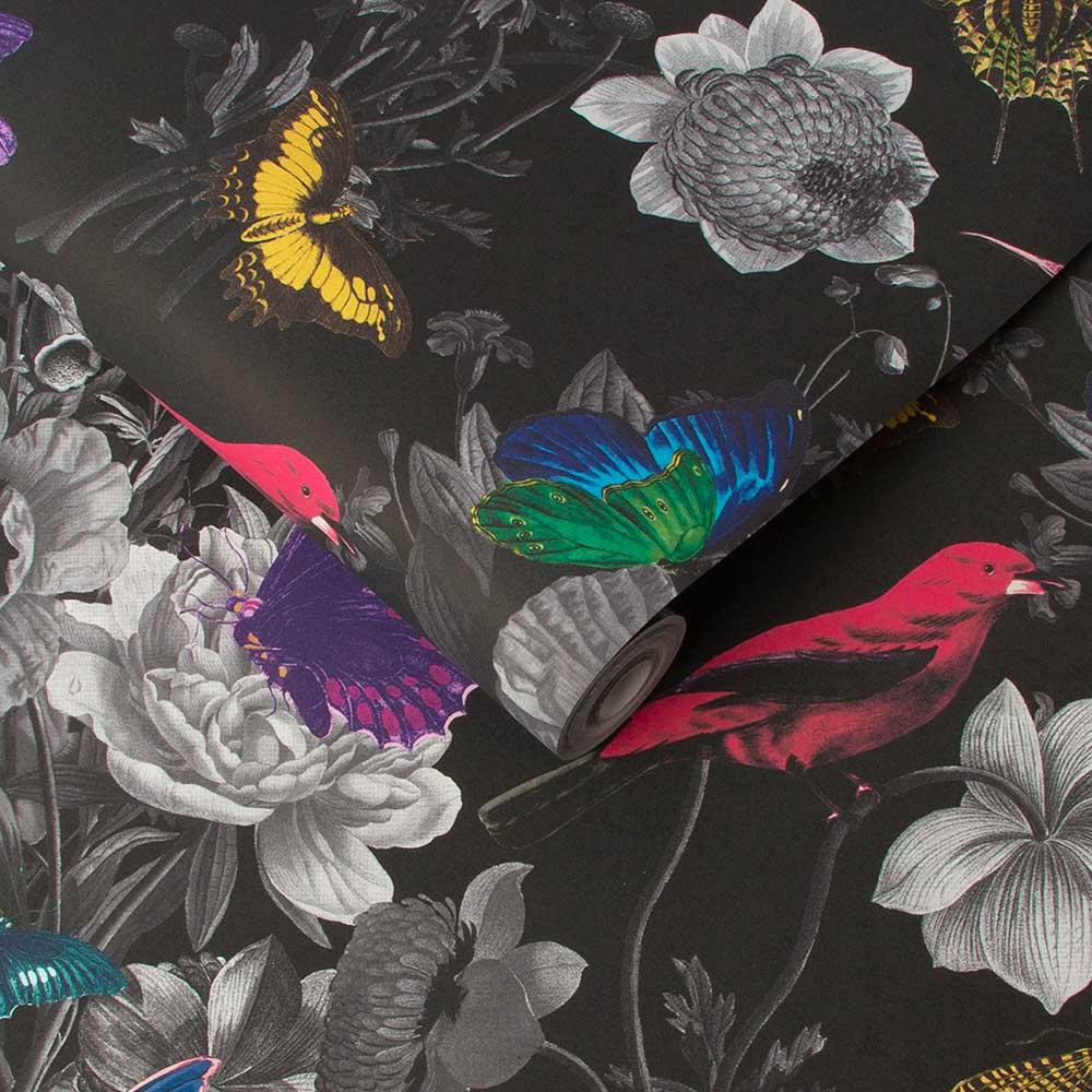 Jardin Wallpaper - Black - by Graham & Brown