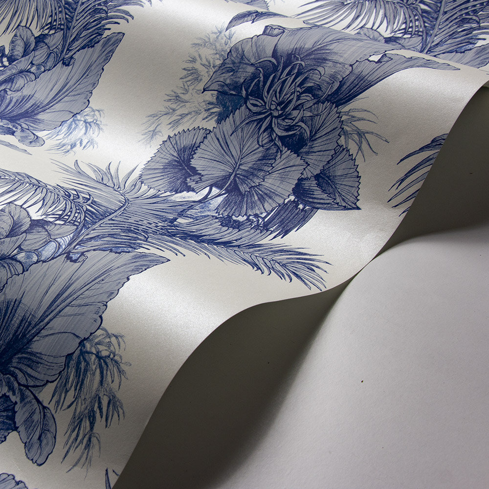 Club Tropicana Wallpaper - Blue - by Laurence Llewelyn-Bowen