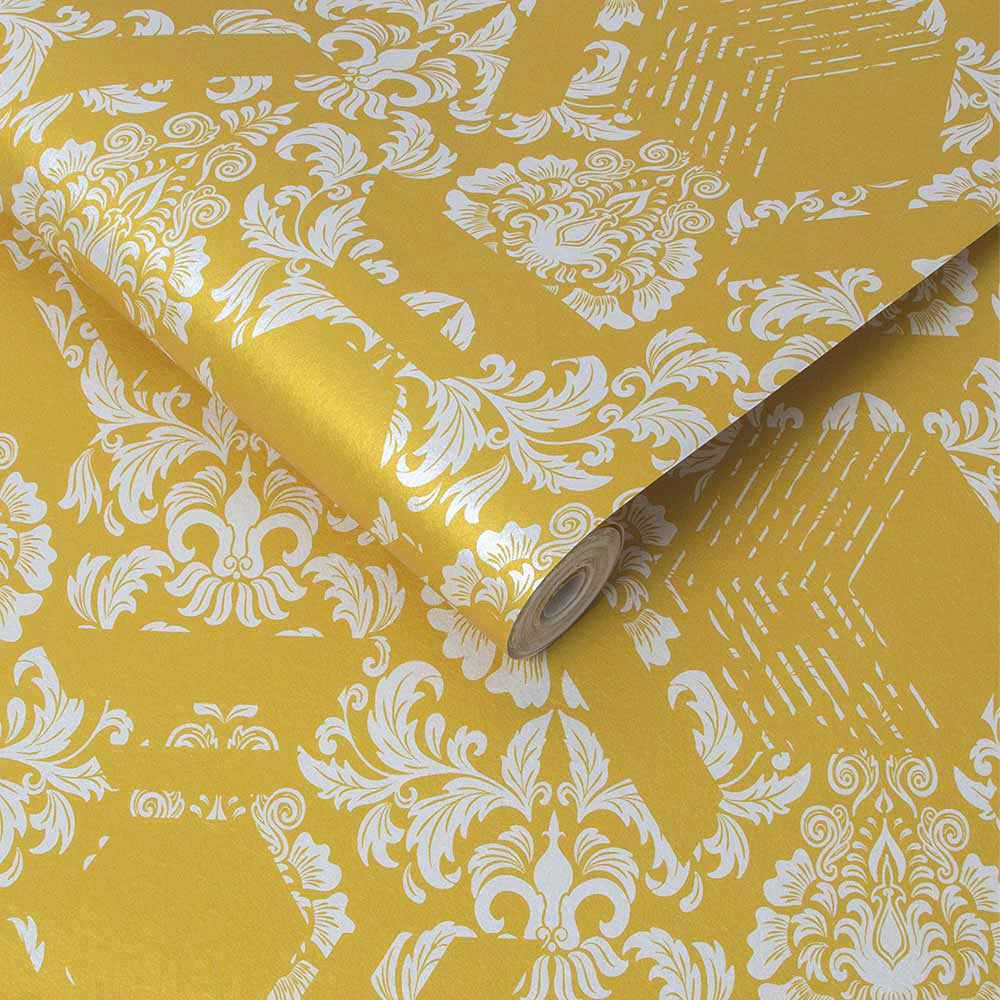 Graham & Brown Geo Damask Yellow Wallpaper - Product code: 106446