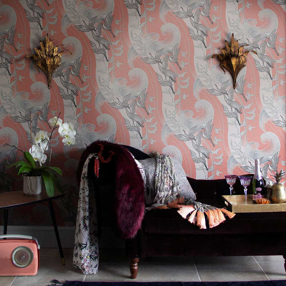 Craney Day Wallpaper - Coral - by Laurence Llewelyn-Bowen