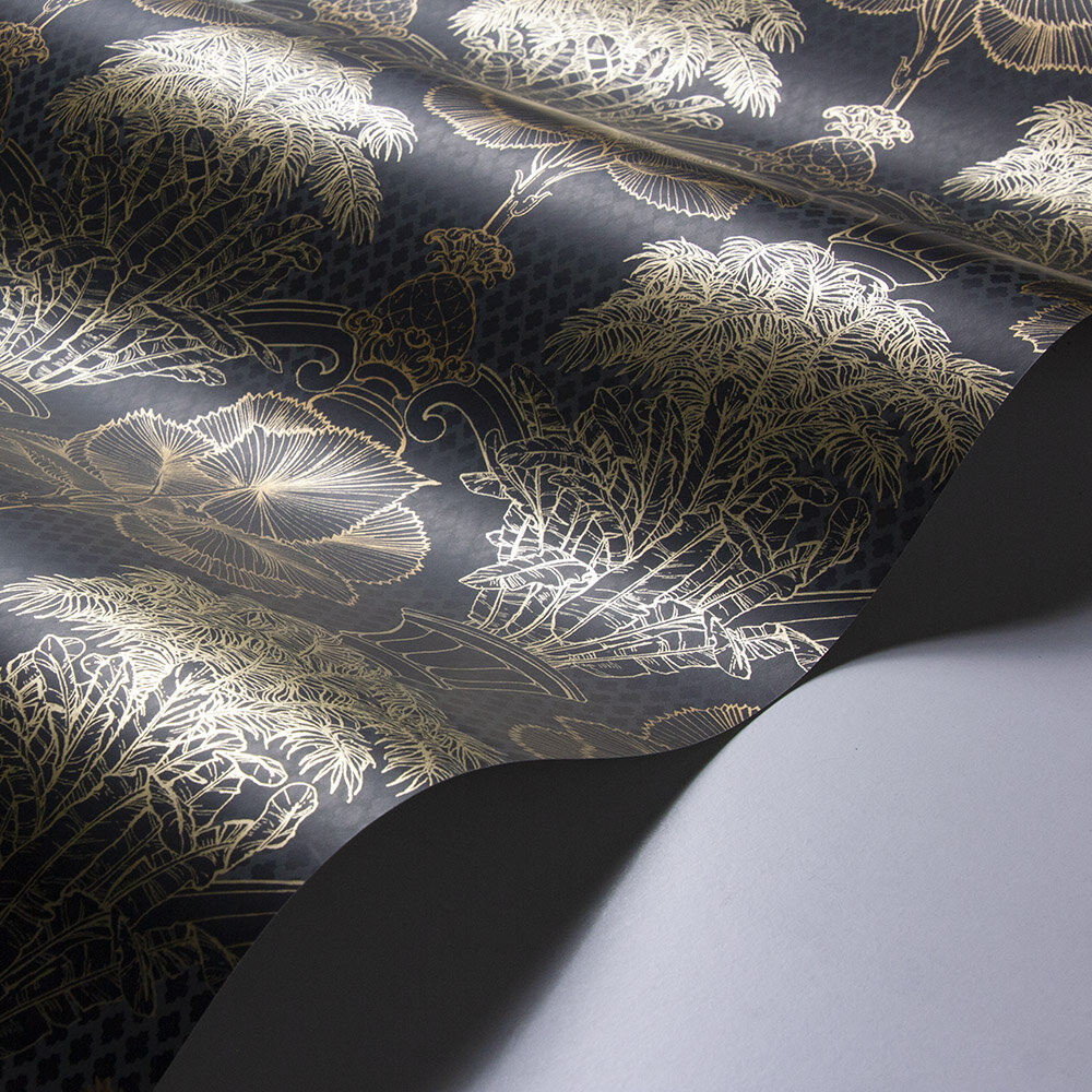 Copacabana Wallpaper - Black Copper - by Laurence Llewelyn-Bowen