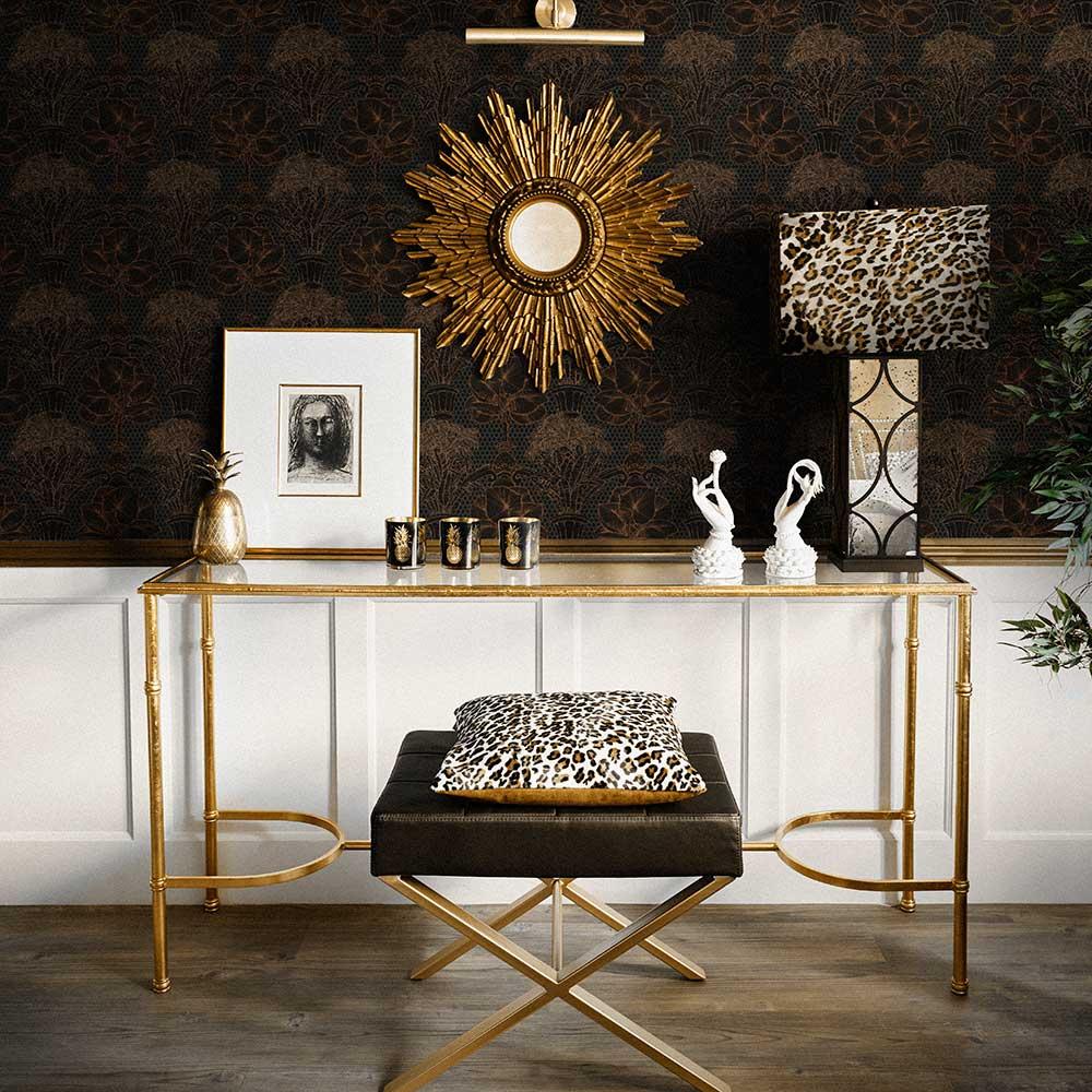 Copacabana Wallpaper - Black Copper - by Laurence Llewelyn-Bowen