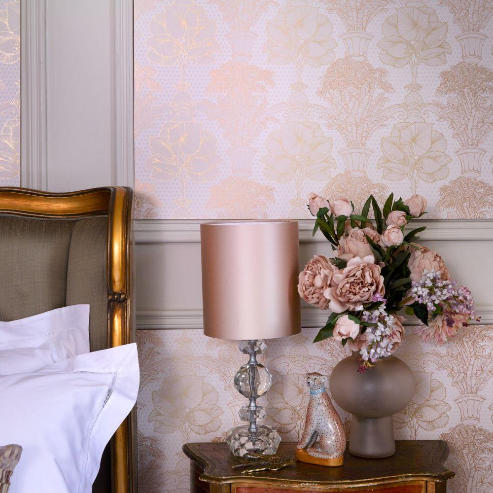 Copacabana Wallpaper - Gold / Blush Pink - by Laurence Llewelyn-Bowen