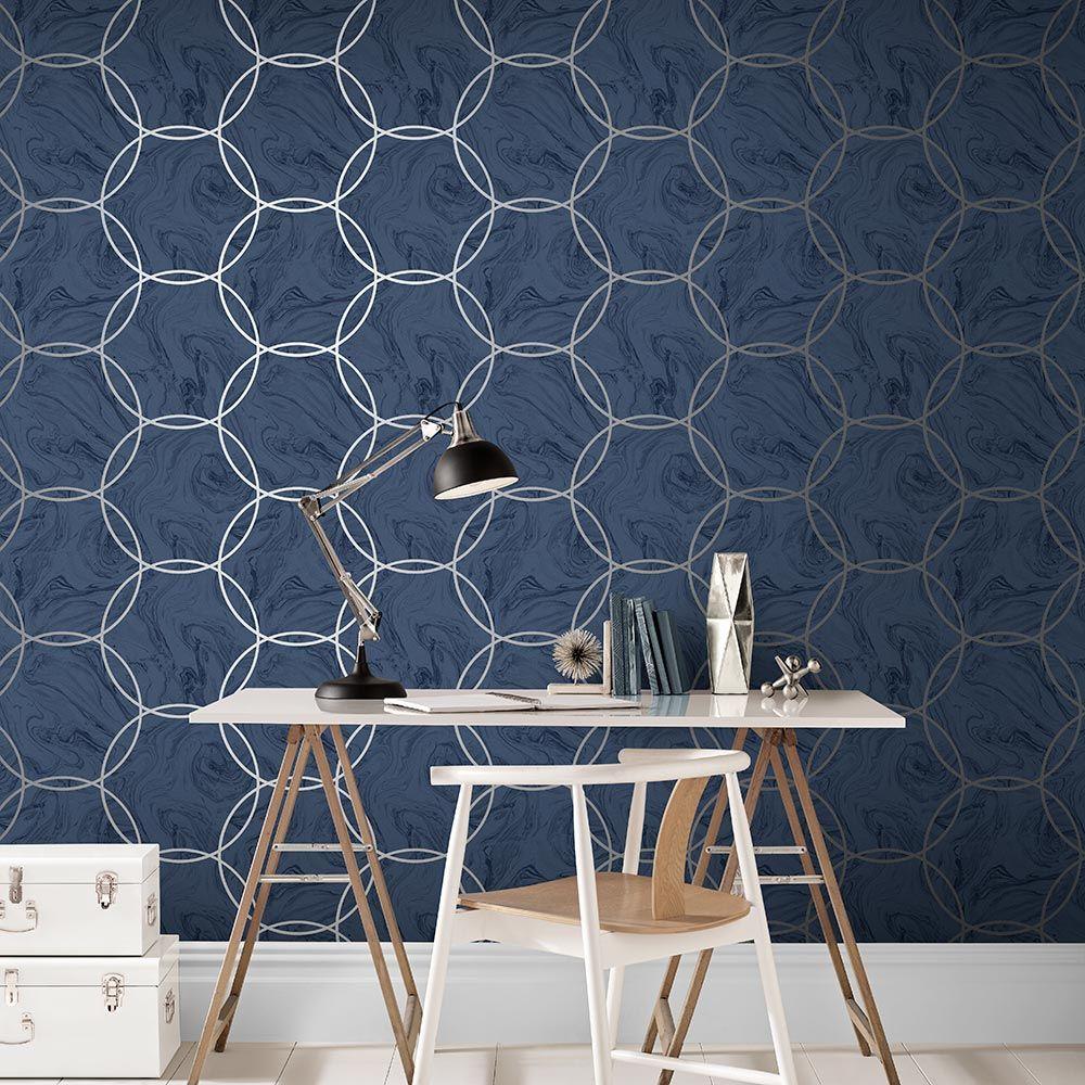 Aqueous Wallpaper - Geo Cobalt - by Graham & Brown