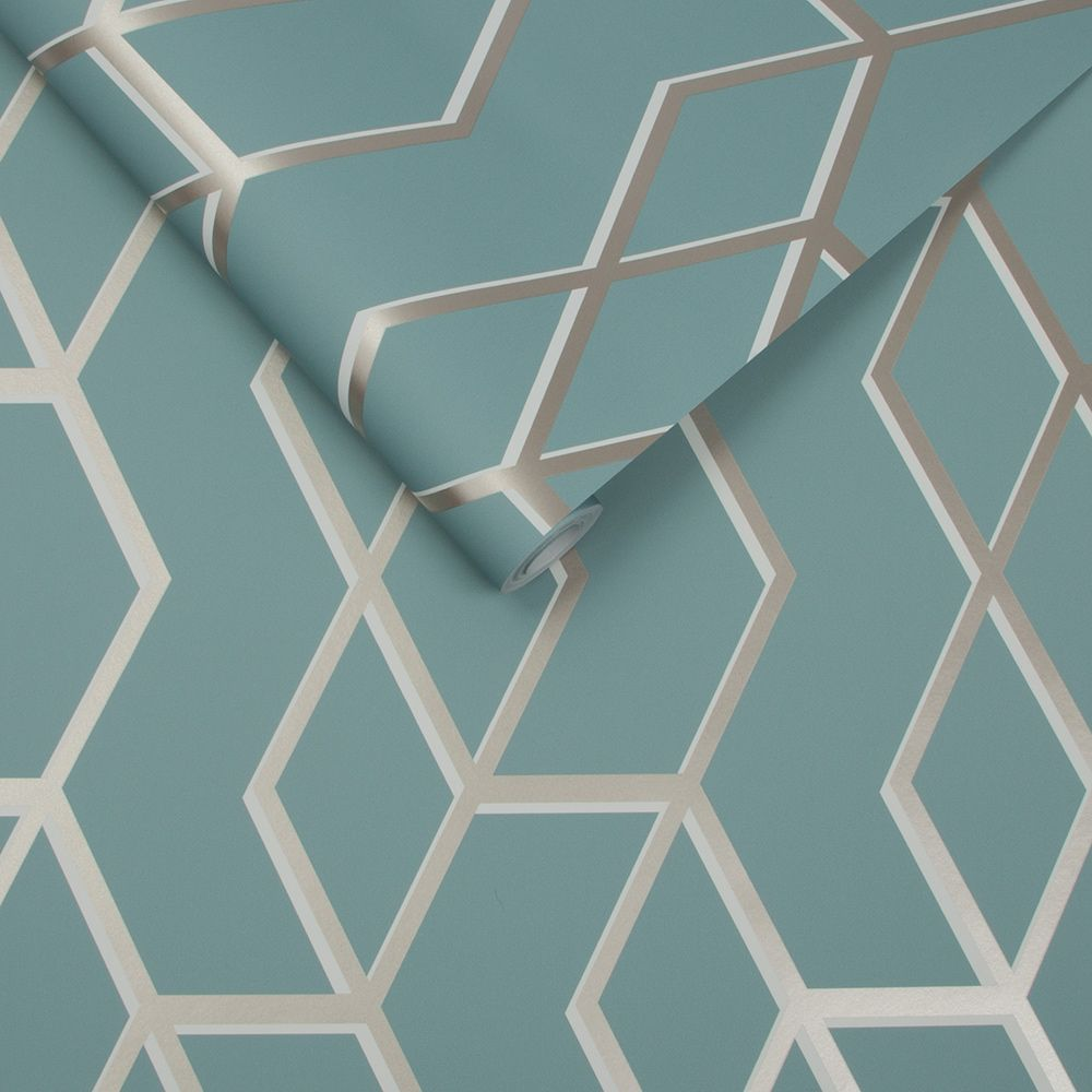 Archetype Wallpaper - Mint / White Gold - by Graham & Brown
