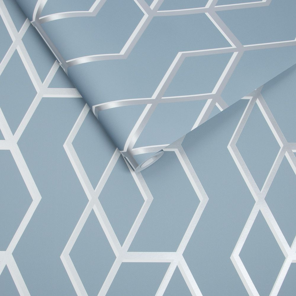 Archetype Wallpaper - Blue / Silver - by Graham & Brown