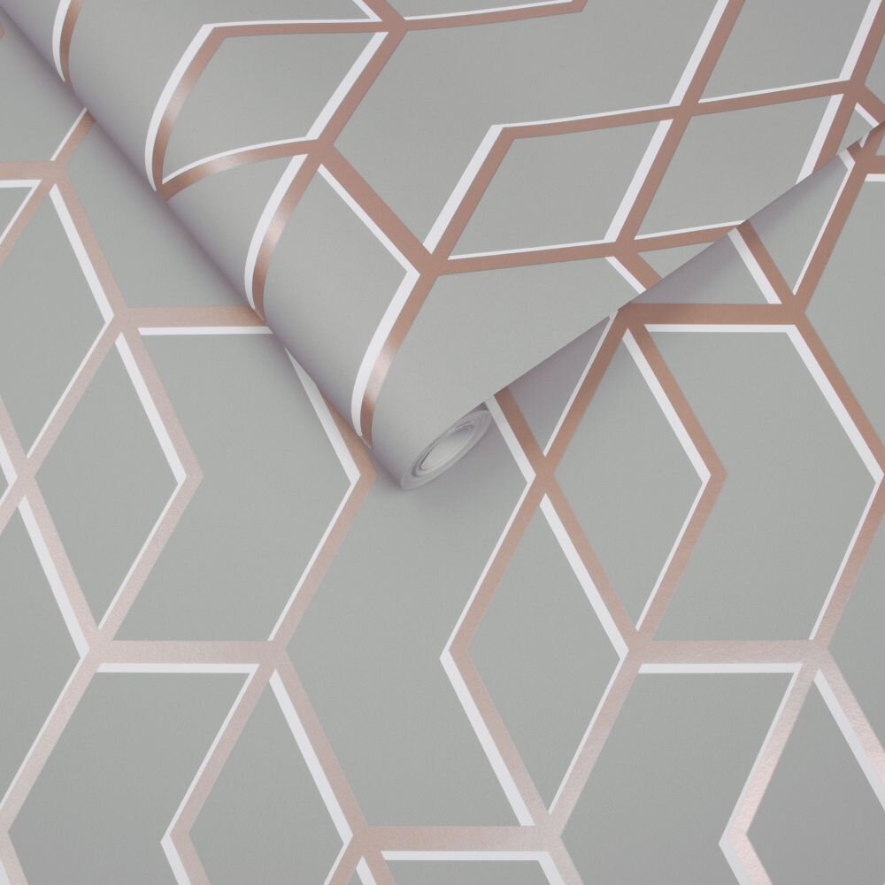 Archetype Wallpaper - Grey / Rose Gold - by Graham & Brown