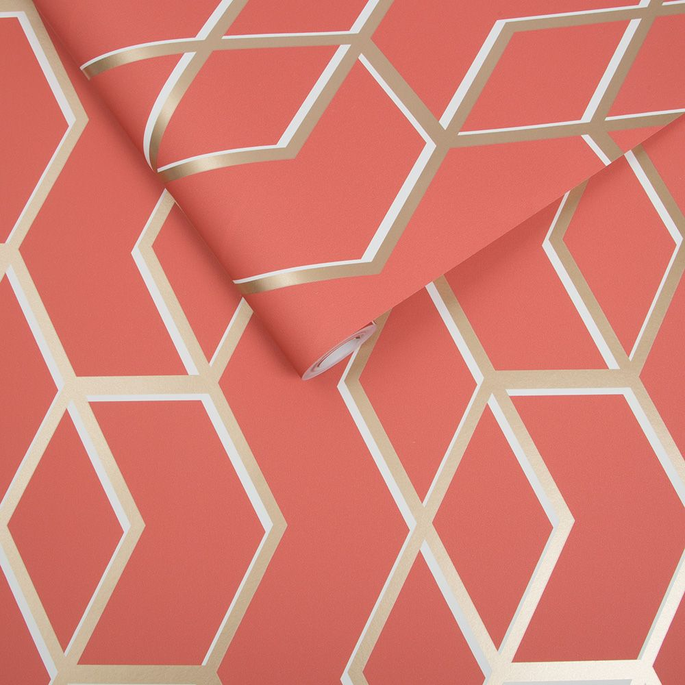 Archetype Wallpaper - Coral / Gold - by Graham & Brown