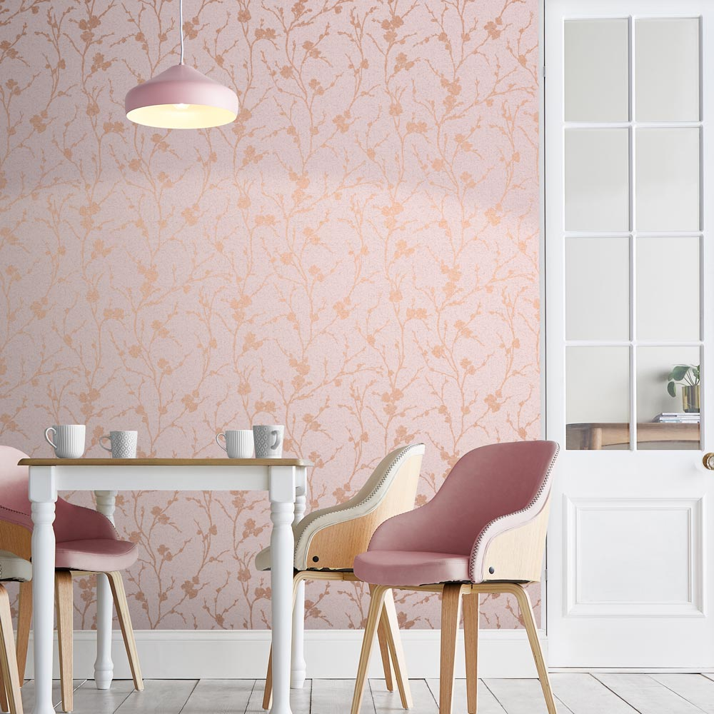Meiying Wallpaper - Blush - by Graham & Brown