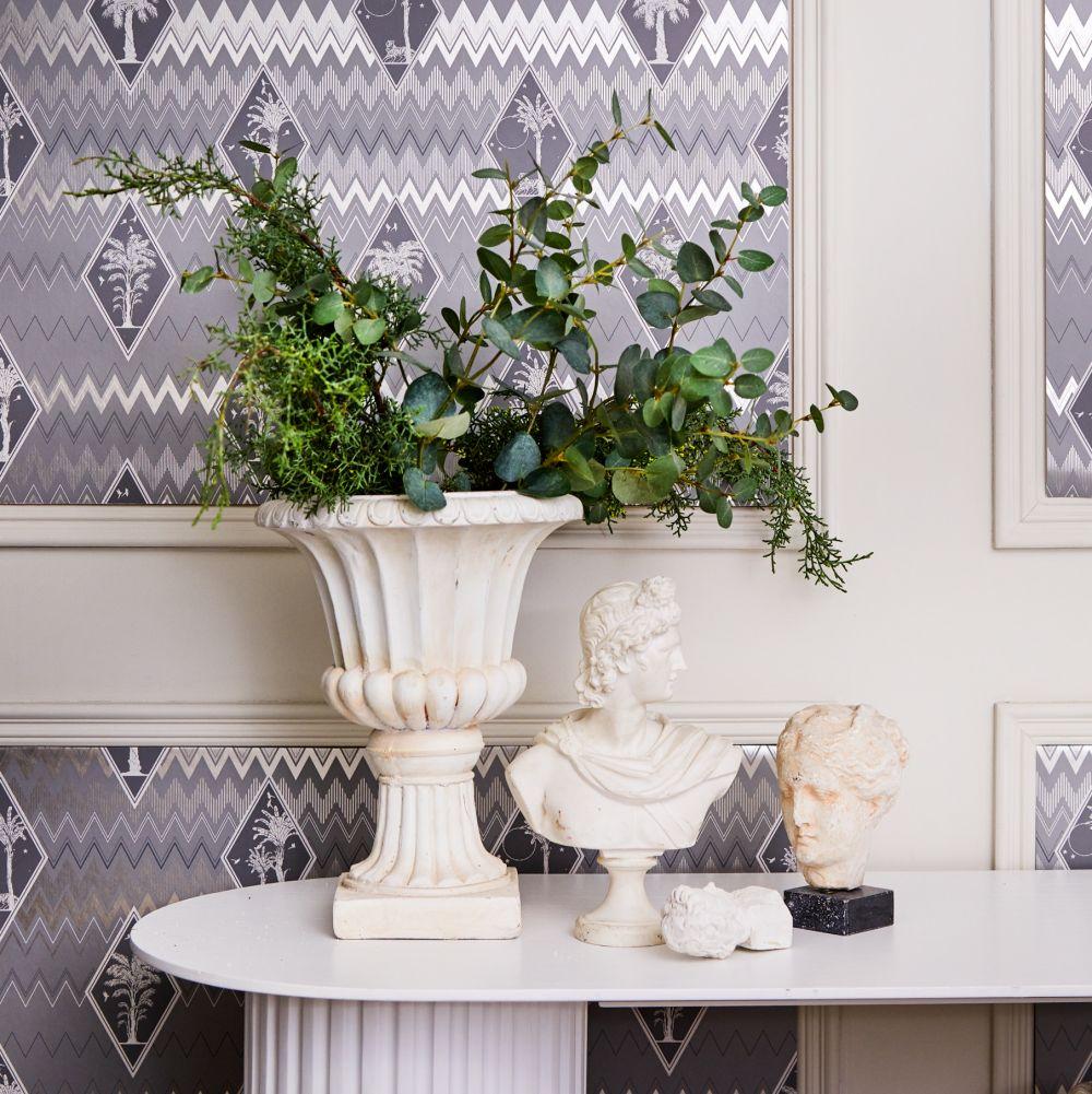 Tropicalia Wallpaper - Grey - by Laurence Llewelyn-Bowen