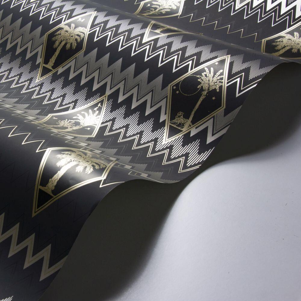 Tropicalia Wallpaper - Black / Silver - by Laurence Llewelyn-Bowen