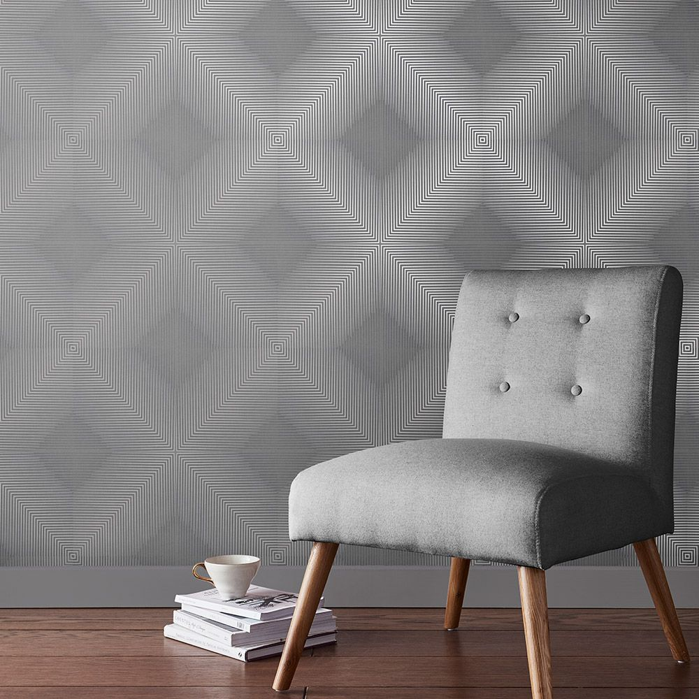 Optical Wallpaper - Shadow - by Graham & Brown