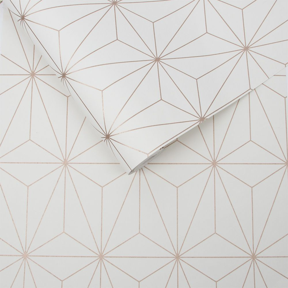 Prism Wallpaper - White / Rose Gold - by Graham & Brown