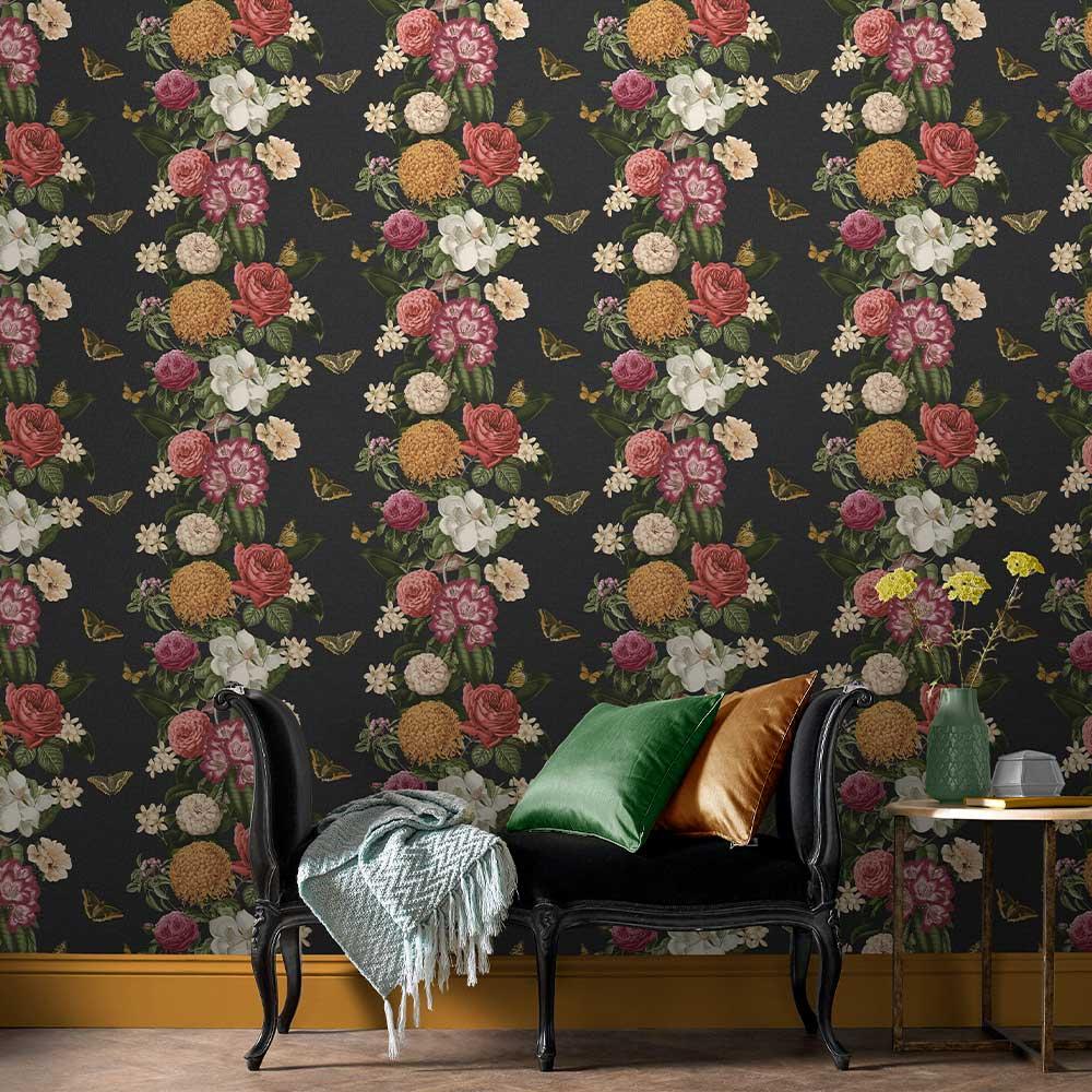 Graham & Brown Bloomsbury Black / Multicoloured Wallpaper - Product code: 107888