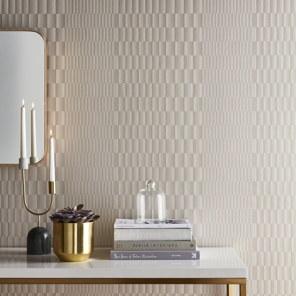 Symmetry Wallpaper - Soft Gold - by Graham & Brown