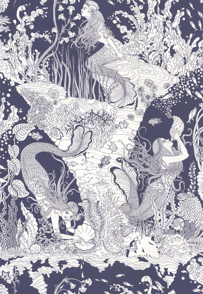 Mermaid Wallpaper - Navy / White - by Dupenny