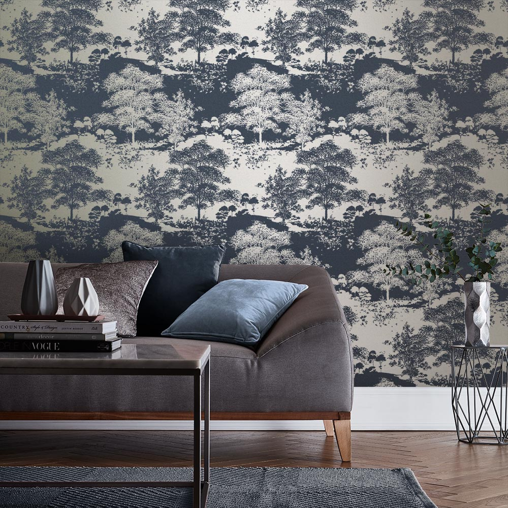 Meadow Wallpaper - Notte - by Graham & Brown