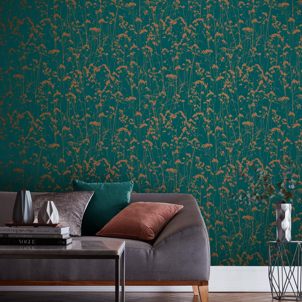 Graham & Brown Grace Teal Wallpaper - Product code: 105459